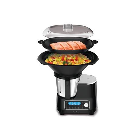 Robot cuiseur Moulinex Clickchef noir HF456810 + cuiseur vapeur